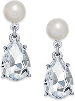 Charter Club Silver-Tone Crystal and Imitation Pearl Drop Earrings, Created for Macy's
