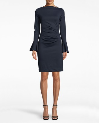 Nicole Miller Ponte Dress With Flounce Sleeve