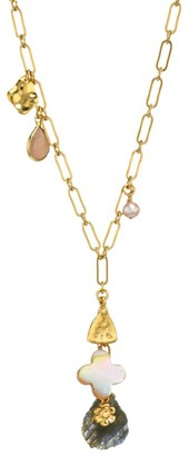 Chan Luu 18K Goldplated, 4-4.5MM Pearl & Mixed Stone Charm Necklace