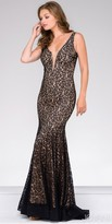 Jovani Fitted Illusion Lace Scoop Back Prom Dress