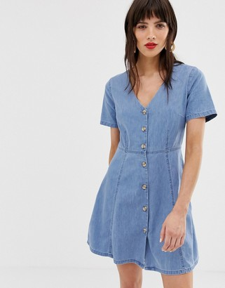 Asos Design DESIGN denim tea dress with mock horn buttons in midwash blue