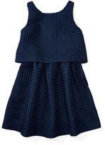 Ralph Lauren 7-16 Waffle-Knit Jacquard Dress