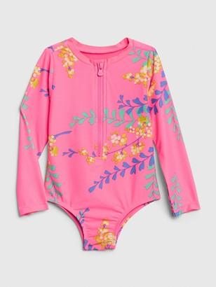 Gap Toddler Floral Rash Guard Swim One-Piece