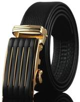 Kuji Men's Alloy Automatic Buckle Black Cowhide Belt