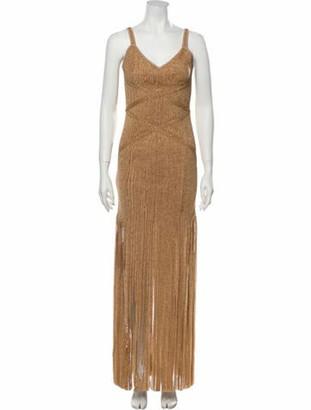Herve Leger V-Neck Mini Dress Gold