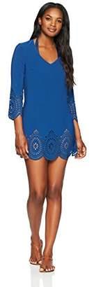 Amazon Brand - Coastal Blue Women's Swimwear Laser Cut Tunic Cover Up
