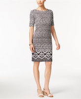 Karen Scott Petite Geo-Print Sheath Dress, Only at Macy's