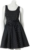 Elle polka-dot fit and flare dress