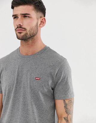 Levi's original small batwing logo t-shirt in charcoal heather-Grey