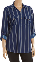 Perch Navy & White Stripe Button-Front Top - Plus