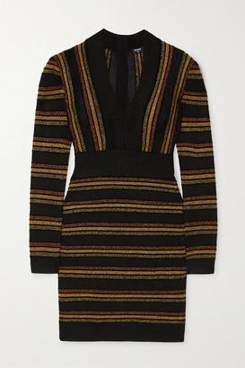 Balmain Striped Metallic Wool-blend Mini Dress - Black