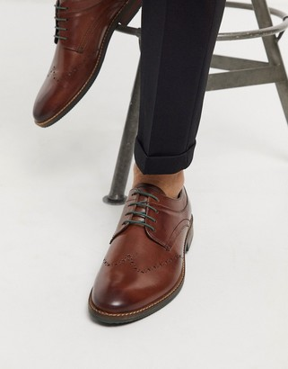 Silver Street leather lace up brogues in brown
