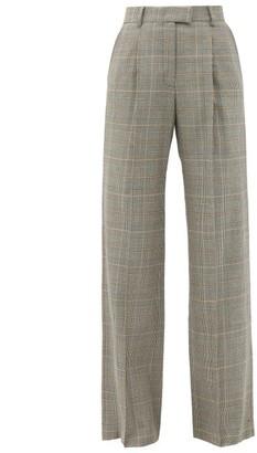 Bella Freud Angie Prince Of Wales Wool Wide-leg Trousers - Grey