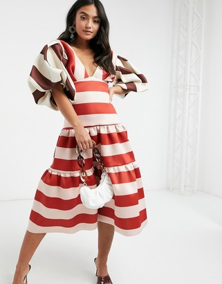 ASOS DESIGN puff sleeve tiered midi dress in contrast stripe