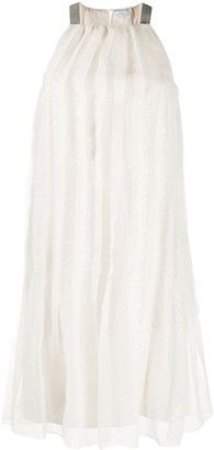 Brunello Cucinelli Sequin-Embellished Pleated Cocktail Dress