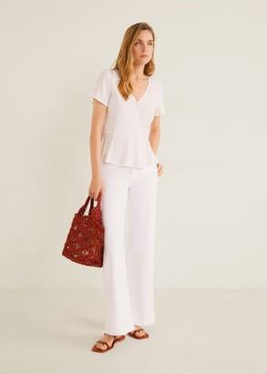 MANGO Wrap printed blouse brown - 2 - Women