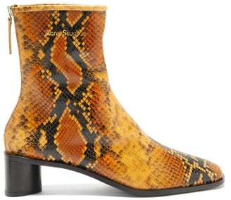 Acne Studios Snake-effect Leather Ankle Boots - Black Orange