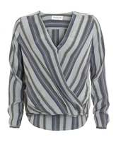 Rosemunde Womens Cecilla Blouse, Cross Over Front Grey Top