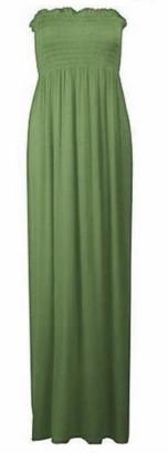 Top Fashion18 Womens Sheering Bandeau Ladies Boobtube Gather Plain Strapless Summer Maxi Dress Navy