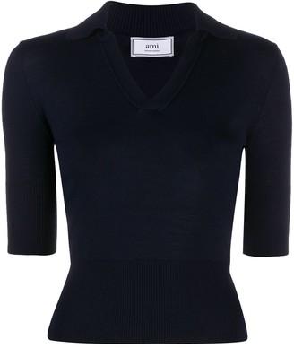 AMI Paris Wool-Blend Polo Shirt