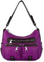 UTO Women Handbag Medium Purse PU Washed Leather Hobo Style Front Zipper Shoulder Bag