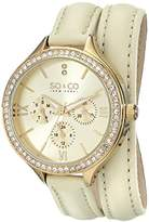 SO & CO New York So & Co Madison Women's Quartz Watch with Gold Dial Analogue Display and Beige Leather Strap 5047S.3