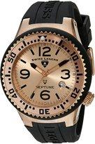 Swiss Legend Men's 21848P-RG-09 Neptune Rose Dial Black Silicone Watch