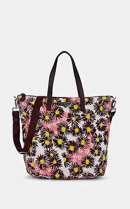 Prada Women's Leather-Trimmed Floral Tote Bag - Bordeaux Dis. margher, Bordeaux dis. marghe