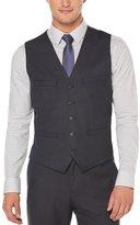 Perry Ellis Mens Classic Check Four-Pocket Waistcoat Vest XL Blue