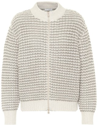 Brunello Cucinelli Wool-blend knit bomber jacket