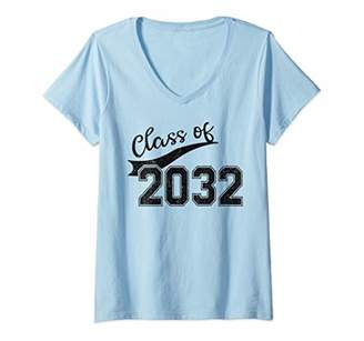 with me. Womens Class of 2032 Grow First Day of Kindergarten V-Neck T-Shirt