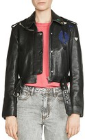 Maje Bicoeur Embroidered Leather Jacket