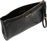 Miu Miu Croc-effect glossed-leather pouch