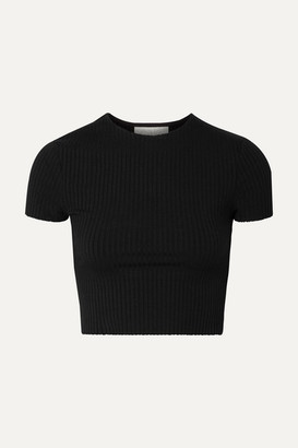 CALÉ Esmee Cropped Ribbed Stretch-jersey T-shirt - Black