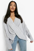 boohoo Plus Isabelle Wrap Front Knitted Jumper