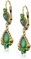 "Sorrelli Wild Fern"" Semi-Precious Pear and Crystal French Wire Drop Earrings"