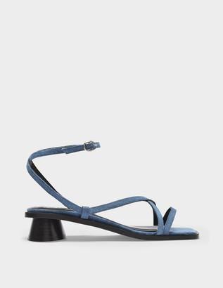 BY FAR Yumi Sandals in Blue Denim