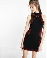 Express Embroidered Trapeze Hem Dress