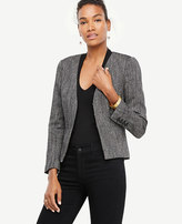 Ann Taylor Petite Herringbone Peplum Jacket