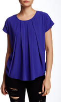 Bobeau Short Sleeve Pleated Front Knit Back Blouse (Petite)