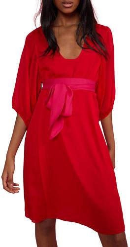 Cynthia Rowley Tinley Sash-Tie 3/4-Sleeve Dress