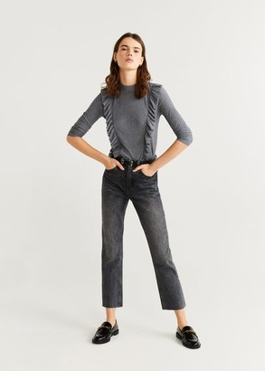 MANGO Ruffles pleated t-shirt medium heather grey - S - Women