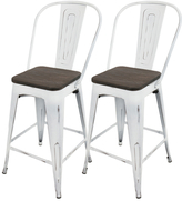 Lumisource Oregon Industrial High Back Counter Stools (Set of 2)