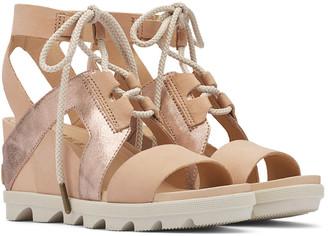 Sorel Joanie Ii Ankle Lace Nubuck Leather & Metallic Suede Sandal