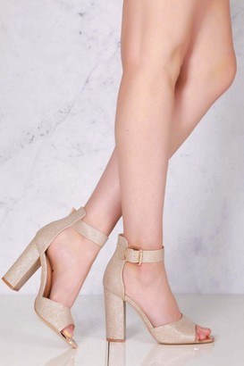 Miss Diva Jessy medium block heel open toe ankle strap sandal in Champagne