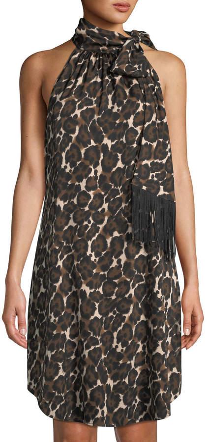Trina Turk Iman Animal-Print Tie-Neck Georgette Dress
