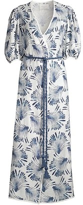 Azulu Cherry Tree Print Puff-Sleeve Tie-Waist Maxi Dress