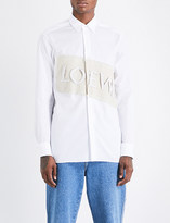 Loewe Logo-patch relaxed-fit cotton and linen-blend shirt