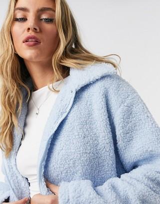 Daisy Street teddy fleece trucker jacket with pocket detail in blue