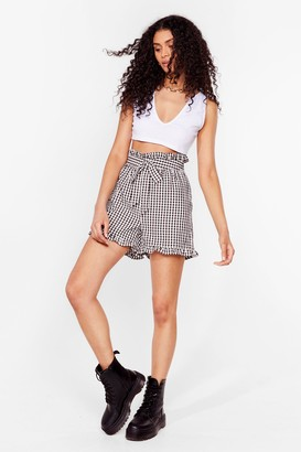 Nasty Gal Womens Gingham a Call Belted Paperbag Shorts - Black - 6, Black